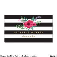 Bold Stripes with Pink Flowers Business Card for Makeup Artists, Beauty Salons, Stylists, Bloggers and more. Ready to personalize. Easy to order and fast shipping.