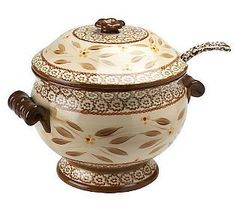 Temp tations Old World 3 Qt Soup Tureen w Serving Ladle    Temp - tations dinnerware, add that old world, country style to your city home, apartment, bungalow ...