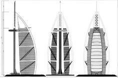 Drawings & Diagrams - Burj Al Arab Architecture Concept Diagram, Bamboo Architecture, Amazing Architecture, Architecture Design, Burj Al Arab, Dubai Tower, Art Fund, Autocad, Skyscraper