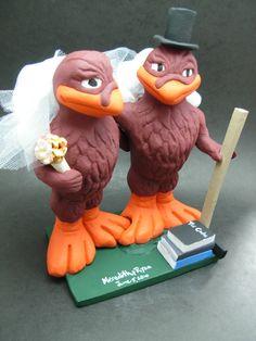 Custom made to order college mascot wedding cake toppers. $235 www.magicmud.com 1 800 231 9814 magicmud@magicmud... blog.magicmud.com twitter.com/... $235 #mascot #collegemascot #hokie #ms.wuf #gators #virginiatech #football mascot #wedding #toppers #custom #Groom #bride #weddingcaketoppers #caketoppers www.facebook.com/... www.tumblr.com/... instagram.com/... magicmud.com/Wedding photos.htm