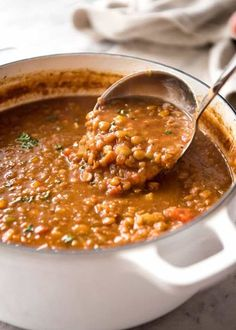 Lentil Soup Recipe VIDEO above. Don't settle for a bland lentil soup. Make it right, and you'll have everyone begging for seconds.and thirds! The touch of spices and finishing it off with lemon really lifts this soup to the next level. Lentil Soup Recipes, Vegetarian Recipes, Cooking Recipes, Healthy Recipes, Healthy Lentil Soup, Lentil Stew, Italian Lentil Soup Recipe, Brown Lentil Soup, Slow Cooker Lentil Soup