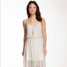 Illusion Ivory Maxi Dress Shorter slip under, flowy and comfy for summer! Straps not adjustable. Dresses Maxi