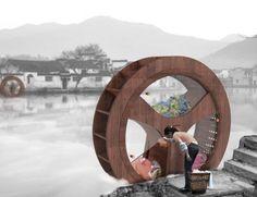 Waterwheel Washing Machine, spinning washing machines, vernacular-inspired design, Water wheels China, Chinese design, energy efficient desi...