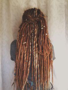 34 Synthetic Dreadlocks DE dread extensions Double Ended Synthetic dreads auburn dreads & 24 My Hairstyle, Pretty Hairstyles, Hair Inspo, Hair Inspiration, Pelo Rasta, Rasta Hair, Synthetic Dreadlocks, Dreads Styles, Dreadlock Styles