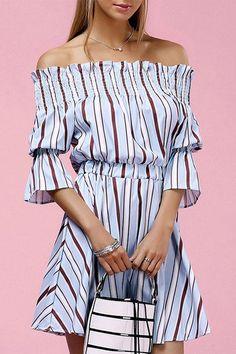 Off Shoulder Stripe Pattern Dress