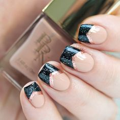 Black, rose gold and neutral nail design