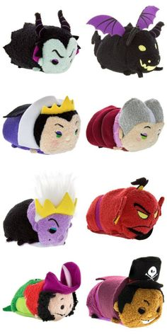 Disney Villains Tsum Tsum Series featuring Maleficent, Maleficent (Dragon), The Evil Queen, Wicked Stepmother, Ursula, Genie Jafar, Tick-Tock eating Captain Hook, and Dr. Facilier!