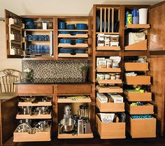 Kitchen and Pantry with multiple pull out shelves
