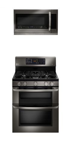 LG Black Stainless Steel Gas Double Oven and Over-the-Range Microwave Oven  #LGLimitlessDesign #Contest