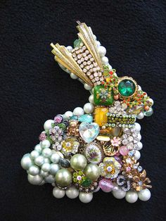 Vintage Jewelry Collage Sculpture Mint Bunny by ArtCreationsByCJ, $80.00