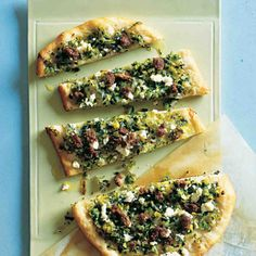 Drawing on mint's eastern Mediterranean roots, this appetizer softens the sharpness of mint, lamb, and feta with gently cooked leeks and scallions. The flavors meld nicely on a superbly thin, crisp crust.