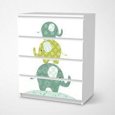 Möbelfolie Elephants für deine Malm Kommode