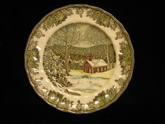 The School House dinner plate ( 9 7/8 inches) The Friendly Village by Johnson Brothers by SharriesLOVECOMFORTS on Etsy Friendly Village Dishes, Traditional Dinnerware, Moving To China, Vintage Crockery, Johnson Brothers, Christmas Fabric, Covered Bridges, Spring Sale, Royal Doulton