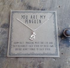 { you are my penguin . tiny penguin necklace . true forever love }  for your true love . for layering . for perfect anniversary or wedding gift .