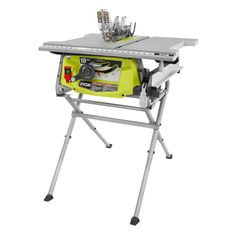 This affordable RYOBI Table Saw with Folding Stand features an integrated storage for accessories and a sturdy durable cast aluminum table top surface. Ridgid Table Saw, Ryobi Table Saw, Table Saw Workbench, Table Saw Jigs, Router Table, Workbench Plans, Home Made Table Saw, Diy Table Saw, Table Saw Sled