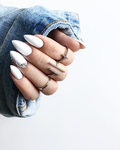 "1,691 Likes, 47 Comments - Moniʞa  (@brunettefashionn_) on Instagram: ""#white #nails @marcela_studio_nails_lashes  #nailswag"""