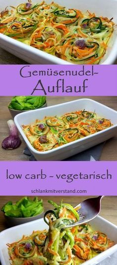 low carb Gemüsenudel-Auflauf - Fit and Healthy Veggie Recipes, Low Carb Recipes, Vegetarian Recipes, Healthy Recipes, Healthy Deserts, Menu Dieta Paleo, Vegetable Noodles, Low Carb Vegetables, Eat Smart