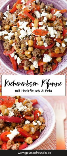 Low carb minced meat chickpea pan with feta and peppers - Low carb chickpeas minced meat pan with peppers and feta – a quick low carb recipe – palate fri - Feta, Meat Recipes, Low Carb Recipes, Healthy Recipes, Coconut Recipes, Chicken Recipes, Kohlrabi Recipes, Califlower Recipes, Zoodle Recipes