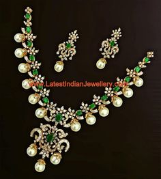 Gorgeous Bridal Diamond Set with Emeralds and Hyderabad Pearls | Latest Indian Jewellery Designs