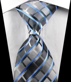 New Classic Checks Gray Silver Blue JACQUARD WOVEN 100% Silk Men's Tie Necktie in Clothing, Shoes & Accessories, Men's Accessories, Ties | eBay