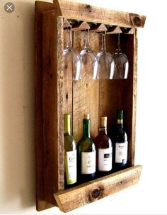 Own a piece of American history with this Barn Wood Wine Bottle Rack. Very Rustic Wine Rack, and Wine Glass Holder. This Rack sets about Wine Glass Storage, Wine Glass Holder, Box Wine, Vin Palette, Wine Rack Design, Pallet Wine, Pallet Barn, Diy Pallet, Rustic Wine Racks