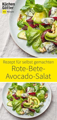 Rote-Bete-Avocado-Salat Beetroot, avocado and gorgonzola make up this fast and tasty salad. Avocado Dessert, Quinoa Salad Recipes, Avocado Recipes, Crab Stuffed Avocado, Avocado Toast, Cottage Cheese Salad, Quick Easy Healthy Meals, Beetroot, Relleno