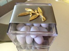 40 plexiglass wedding favors. Bobonieres. Bridal party favors. Filled with almond candies and decorated with beautiful satin ribbon and metallic
