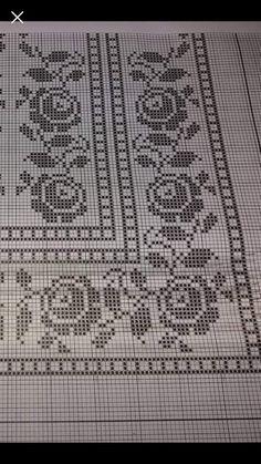 Photo from album Cross Stitch Borders, Cross Stitch Flowers, Cross Stitch Designs, Cross Stitch Patterns, Filet Crochet Charts, Crochet Stitches, Crochet Tablecloth, Crochet Doilies, Crochet Home