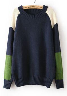 Navy Blue Color Block Long Sleeve Acrylic Sweater