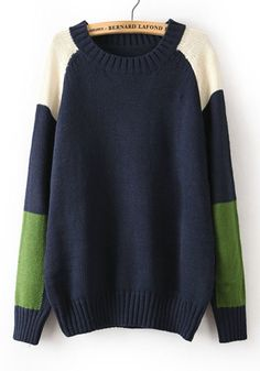 Navy Blue Color Block Long Sleeve Acrylic Sweater