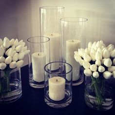 Home Decor, white tulips, candles, vases  www.abodeaustralia.com