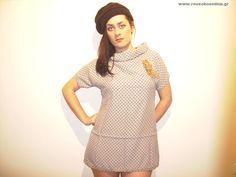 Μπλουζοφόρεμα πουά γκρι με μαύρο High Neck Dress, Internet, Dresses, Fashion, Turtleneck Dress, Vestidos, Moda, Fashion Styles, Dress