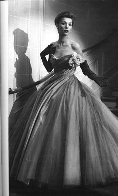 Christian Dior evening dress with lots of petticoats, 1950s