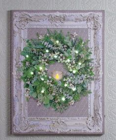 Beautiful romantic wreath on an old frame, new lighted picture design. Shelley B Home and Holiday Picture Frame Inspiration, Unique Picture Frames, Picture Frame Crafts, Christmas Wall Art, Christmas Wreaths, Christmas Decor, Merry Christmas, Xmas, Holiday Decor