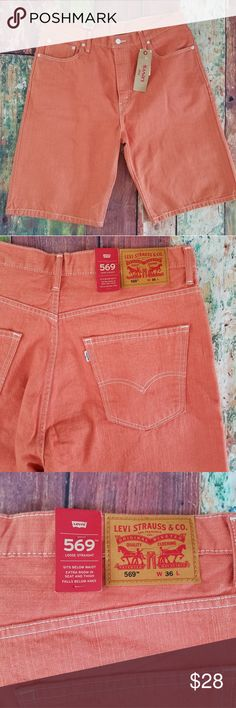 3f0b4fb826 LEVIS coral 569 size 36 shorts loose straight pink Men's Casual Shorts By:  LEVIS Size