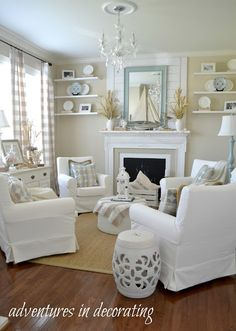 Our Coastal Sitting Room ... Living Room Decor Shabby Chic, Shabby Chic Sitting Room, White Living Room Furniture, Cottage Living Room Small, Decorating Small Living Room, Small Couches Living Room, Beachy Cottage Decor, Sitting Room Decor, Shabby Chic Fireplace