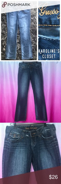 """15% OFF BUNDLES! Guess Jeans, Doheny Bootcut jeans, size 28, 31.5"""" inseam, distressed, back flap pockets. Excellent shape!! Guess Jeans Boot Cut"""