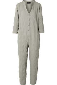 628097bd6fb3 Gray-green crinkled cotton-blend gauze Button fastenings along front cotton
