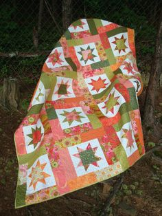 Pink Orange and Green Floral Star Twin Quilt by Jackiesewingstudio