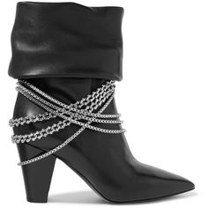 Self-Portrait Self-Portrait - Sadie Chain-embellished Leather Boots -... (2.265 BRL) ❤ liked on Polyvore featuring shoes, boots, sparkly boots, genuine leather boots, low leather boots, black boots and shiny black shoes