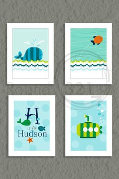 Set of 4 Ocean Theme Prints with Personalized Name por Prints321