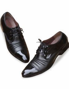 Pleated Pointed Toe Lace-Up Men's Dress Shoes
