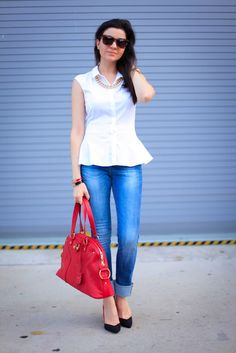 White peplum and Red Accents