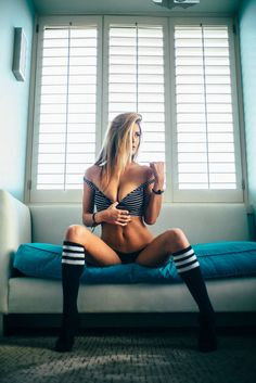 Meet the Get Laid babes. These girls are hot and you can see more any time you want. These Girls, Hot Girls, Vans Style, Thigh High Socks, Knee Socks, Savannah Chat, Boudoir, Bikinis, Swimwear