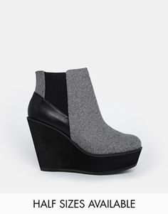 Shellys London Campalto Grey Wedge Ankle Boots
