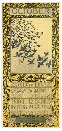 October, a calendar page from 1904