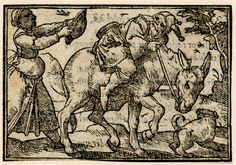 A fool riding an ass to right, leaning away from the female figure holding a mirror(?) who is following him; illustration to a Latin edition of Sebastian Brant's 'Ship of Fools', probably that printed by Petri in Basel in 1572.  c.1568-72  Woodcut British Museum