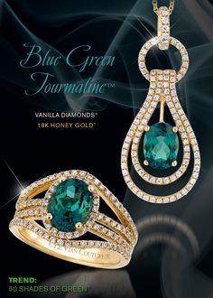 Le Vian Couture® Blue Green Tourmaline™ accented with Vanilla Diamonds®.