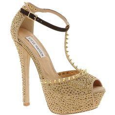 Steve Madden Angelz Peeptoe Platform Sandals ($141) ❤ liked on Polyvore featuring shoes, sandals, heels, sapatos, saltos, gold, platform sandals, platform heel sandals, heeled sandals and strappy platform sandals