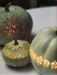 ceramics idea (these are Martha Stewart pumpkins) - turn your spheres into these fabulous pumpkin luminaries
